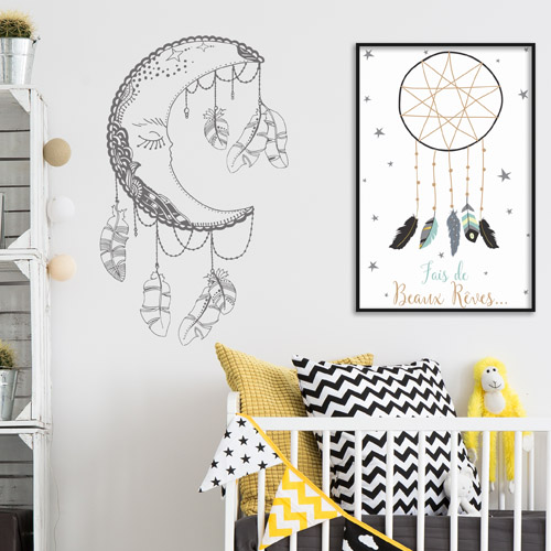 sticker chambre enfant attrape r ve lune. Black Bedroom Furniture Sets. Home Design Ideas