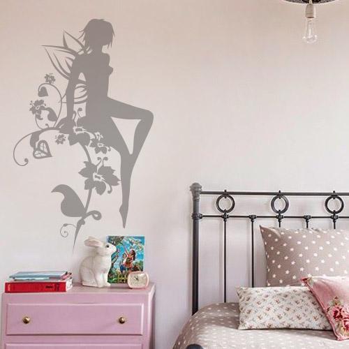 stickers muraux la f e et les fleurs chambre fille. Black Bedroom Furniture Sets. Home Design Ideas