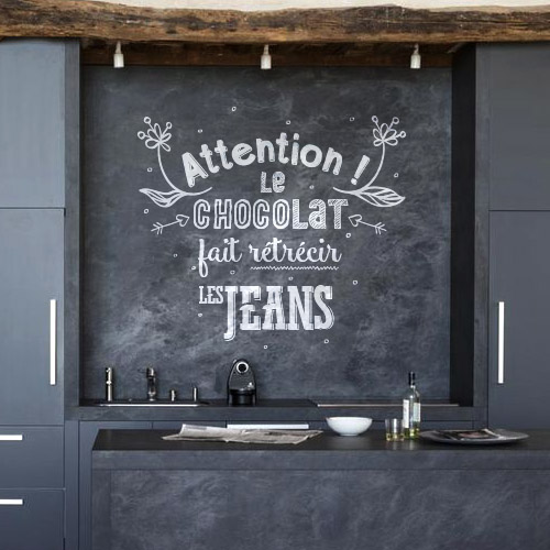 sticker citation cuisine chocolat. Black Bedroom Furniture Sets. Home Design Ideas