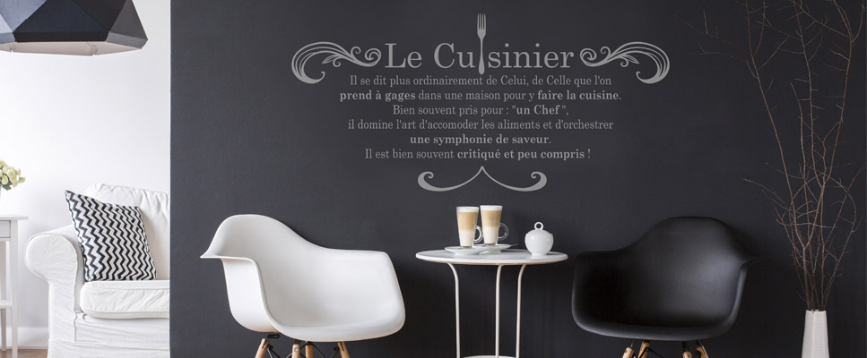 stickers muraux cuisine le cuisinier. Black Bedroom Furniture Sets. Home Design Ideas