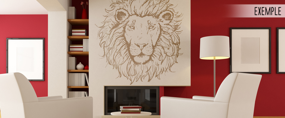 sticker deco t te de lion. Black Bedroom Furniture Sets. Home Design Ideas