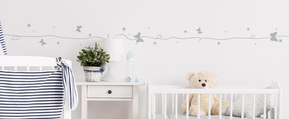 Sticker enfant - Frises étoiles et papillons