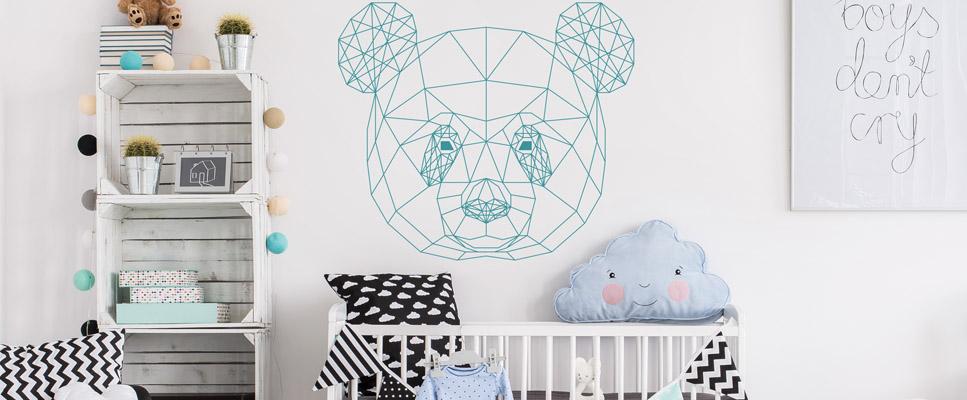 sticker enfant panda origami. Black Bedroom Furniture Sets. Home Design Ideas