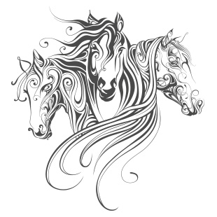 Sticker mural 3 chevaux - Mandala de chevaux ...