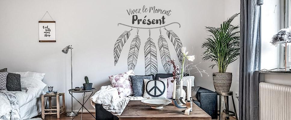 Sticker mural Phrase zen - Moment présent