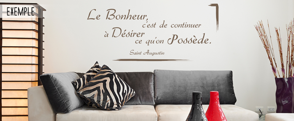 stickers deco citation saint augustin le bonheur. Black Bedroom Furniture Sets. Home Design Ideas