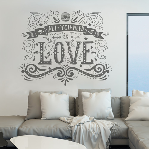 Stickers muraux all you need is love for Stickers muraux citations chambre