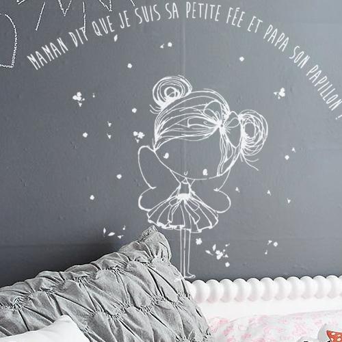 Sticker mural chambre fille tiquettes melli melli pou - Stickers chambre fille feerique ...