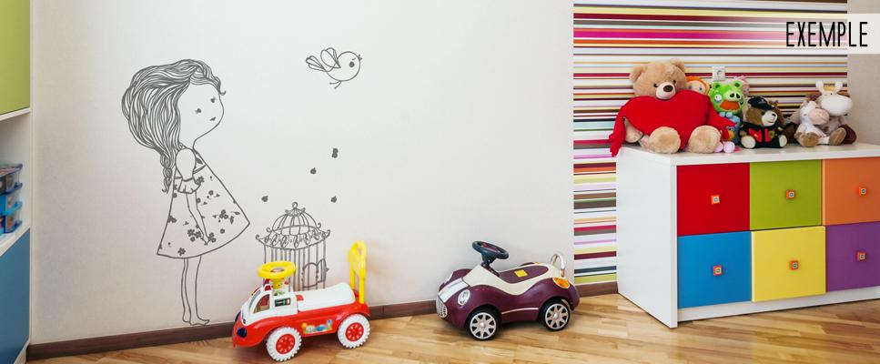stickers muraux chambre enfant l 39 oiseau et la petite fille. Black Bedroom Furniture Sets. Home Design Ideas
