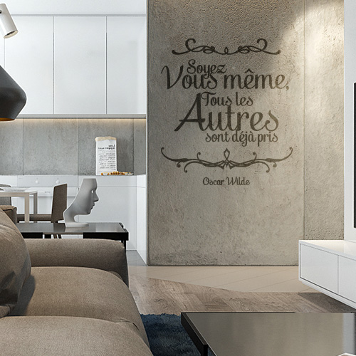 stickers muraux citation oscar wilde vous m me. Black Bedroom Furniture Sets. Home Design Ideas