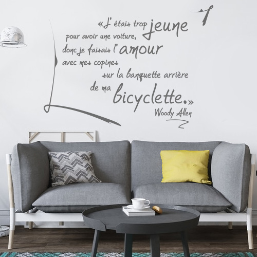 Stickers muraux citation Woody Allen - Ma bicyclette
