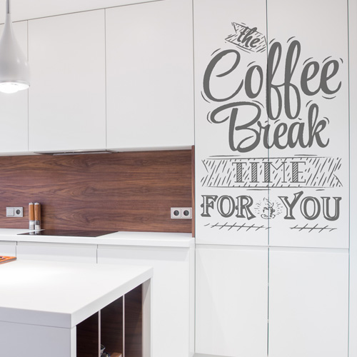 stickers muraux cuisine coffee break. Black Bedroom Furniture Sets. Home Design Ideas