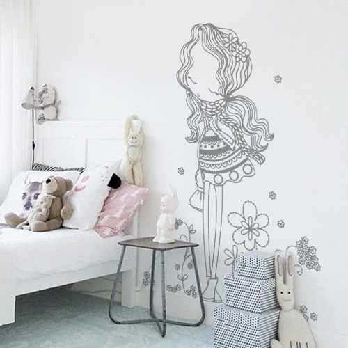 stickers muraux chambre enfant fille au milieu des fleurs. Black Bedroom Furniture Sets. Home Design Ideas