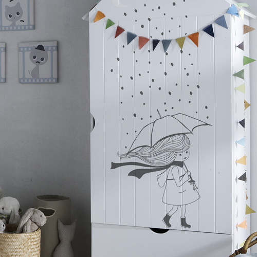 stickers muraux chambre enfant la petite fille sous la pluie. Black Bedroom Furniture Sets. Home Design Ideas