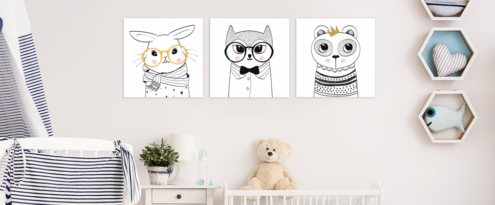 tableau d co chambre enfant et b b portrait petit chien. Black Bedroom Furniture Sets. Home Design Ideas