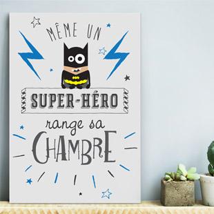 tableau d co chambre enfant garcon super h ro. Black Bedroom Furniture Sets. Home Design Ideas