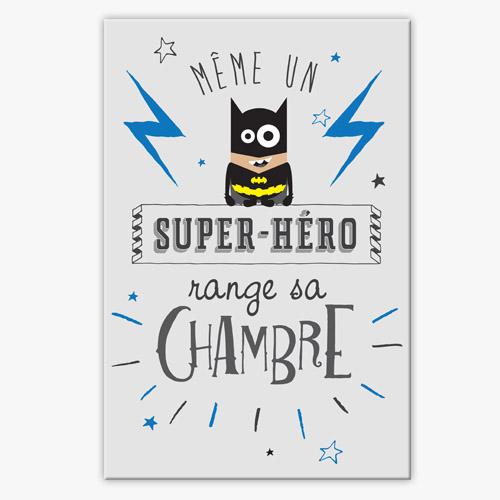 Coloriage Enfant Qui Range Sa Chambre : Tableau déco chambre enfant super héro