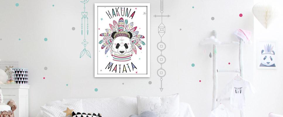 Cadre Deco Panda Hakuna Matata