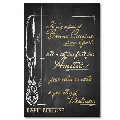 tableau citation paul bocuse la bonne cuisine. Black Bedroom Furniture Sets. Home Design Ideas