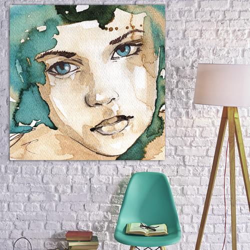 tableau d co portrait femme aquarelle cyan cr me. Black Bedroom Furniture Sets. Home Design Ideas