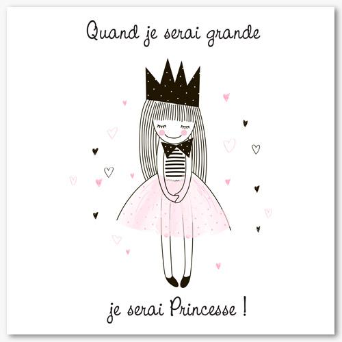Tableau d co chambre fille quand je serai grande je serai princesse - Tableau chambre fille ...