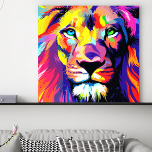 Tableau Lion Pop-Art