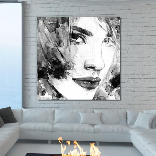 Tableau d co portrait femme noir et blanc for Tableau deco noir et blanc